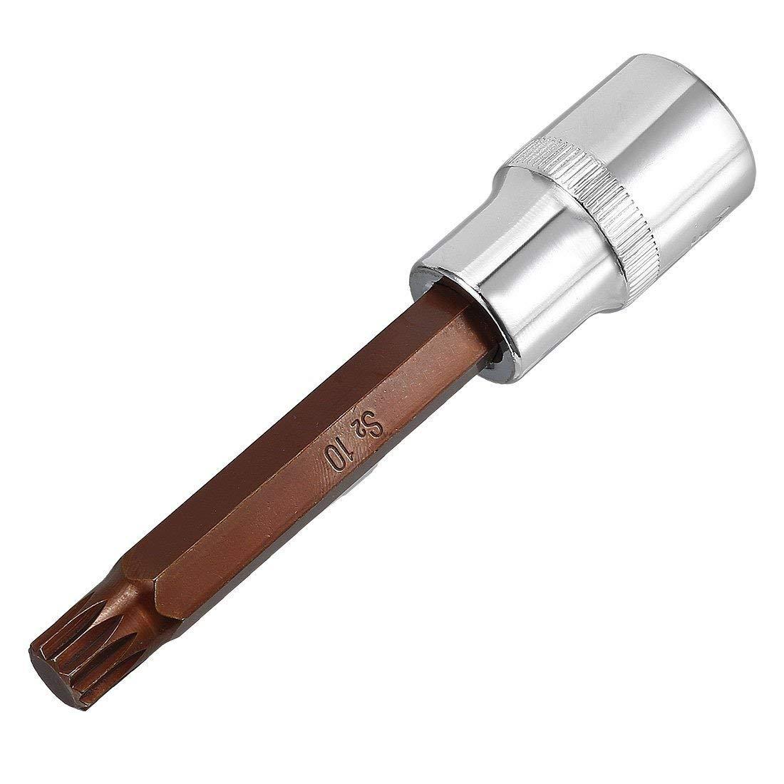 uxcell 1//2-Inch Drive x M10 Triple Square Spline Bit Socket Metric 2 Length