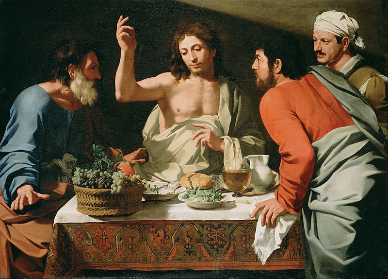 Canvas Art Prints Stretched Framed Giclee Famous Oil Painting Attributed To Bartolomeo Cavarozzi <font><b>Italian</b></font> Supper At Emmaus