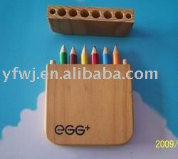 6 color pencil set/3.5 inch /wood pack