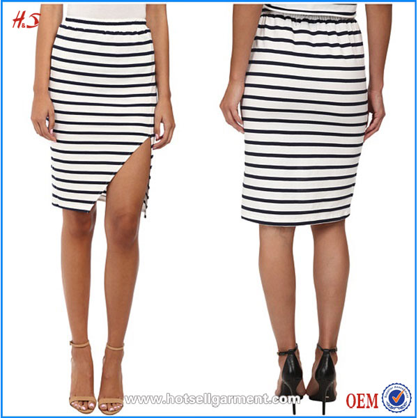 Wholesale Clothing Manufacturer Overseas Cheap Price Black and White Striped Skirt Midi Length Cotton Skirt for Women