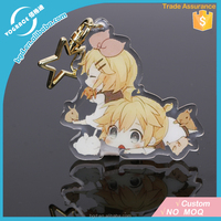 2017 Best Selling Vograce Acrylic Charms Custom/Freestyle Anime Printed Clear Acrylic Keychain/Vograce