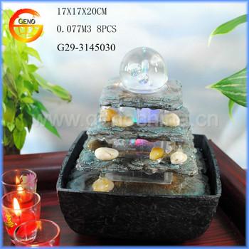 Small Tabletop Indoor Waterfall Buddha Fountain Decorative