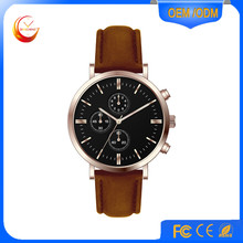 2017 new style alloy top sales men watch with genuine leather strap