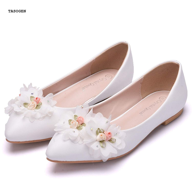 86712ebb4 Get Quotations · TASOGEN Women's Flat Shoes,White Lace Flower Drill Wedding  Shoes, Bridesmaid Shoes(EU34