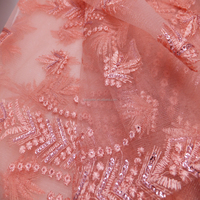 JJTEX2 high quality lace african embroidered tulle lace fabric french net lace wholesale christmas new design beads tulle