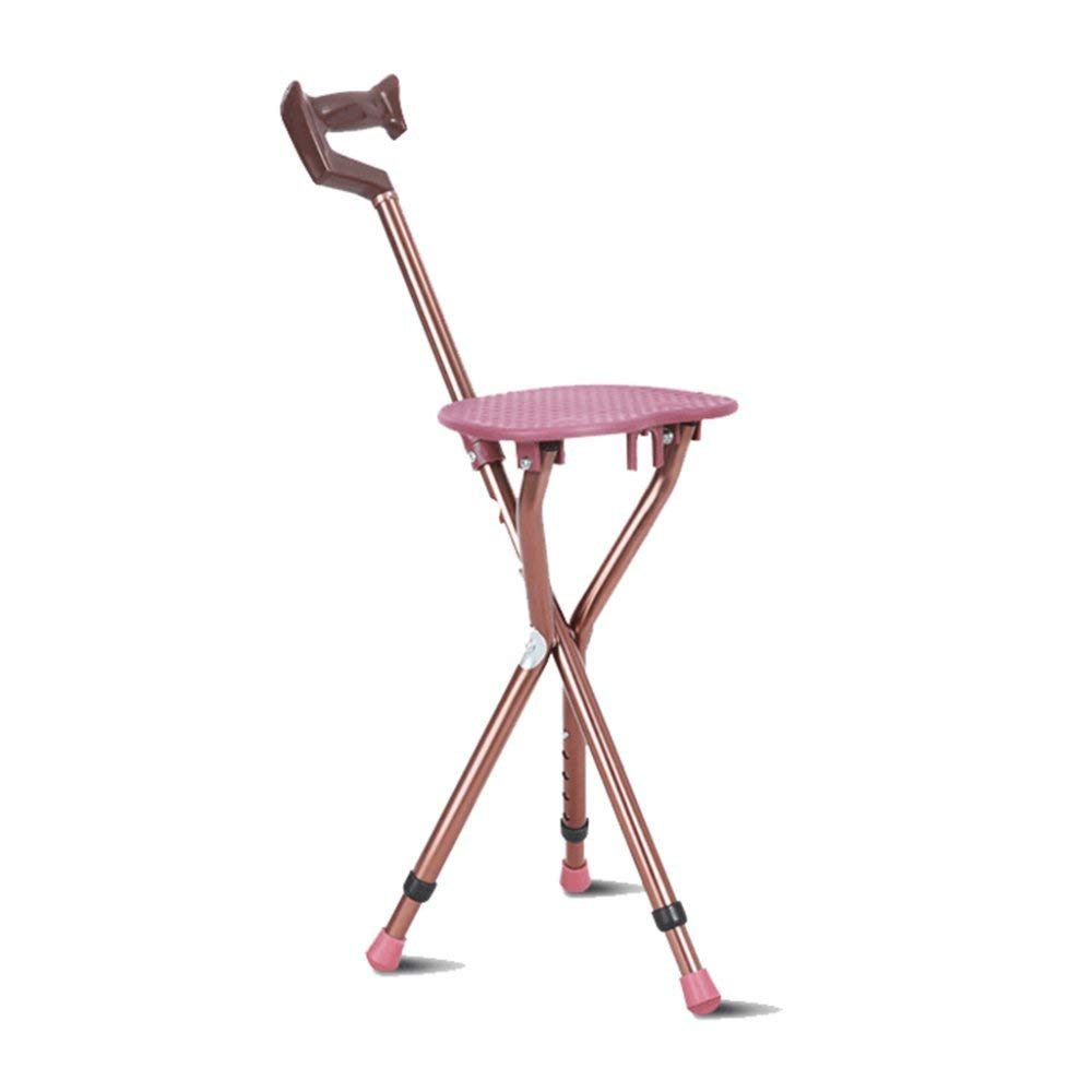 LIULIFE Walking Stick With Seat Walking Stick Chair Walking Stick Elderly Cane Three-legged Folding Stool Non-slip Walking Walker,Pink