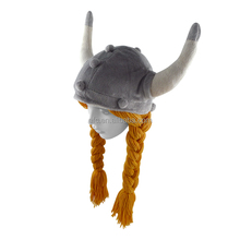 Novelty design plush animal hat with two braids and ox horn