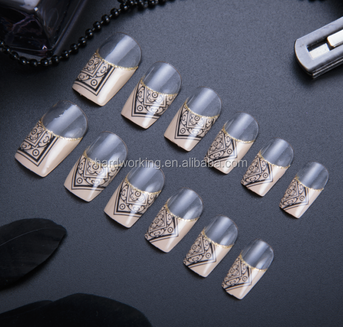 24pcs full-covered French art nail tips