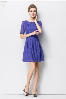 c59e036a5b2f The Latest New Design Round Collar Short Sleeve Lace Ladies Dress for Women