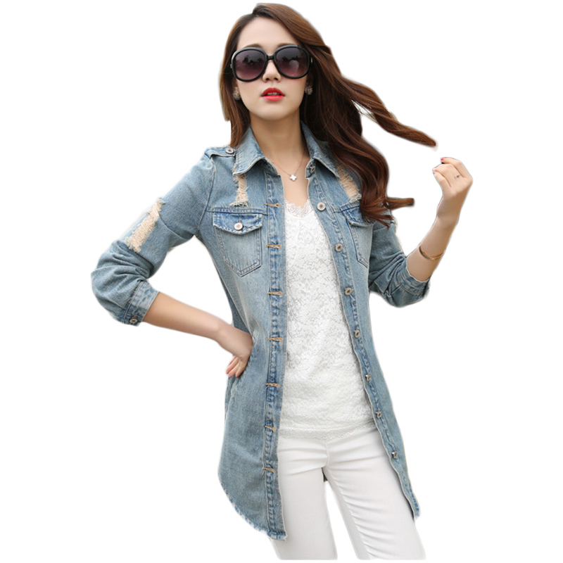 2b49ad1090d5 Buy Wholesale 2015 Autumn Desigual Women Long Denim Trench Coat Hole Frayed  Curved Hem Ladies Jean Coats Outwear Polerones Mujer in Cheap Price on ...