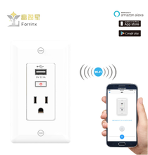 Forrinx SH-09 work with Amazon Amazon Alexa voice control Electrical 3-pin Wi-Fi wall pop triple plug socket with usb