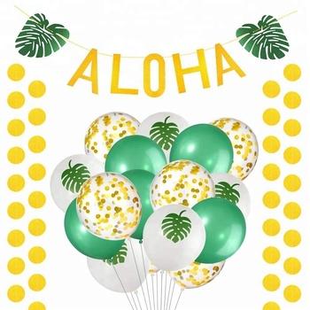 Aloha Hawaiian Tropical Luau Party Decorations Gold Glittery Aloha Green Leaves Banner Tropical Balloon Summer Supplies For Kids Buy Luau Party