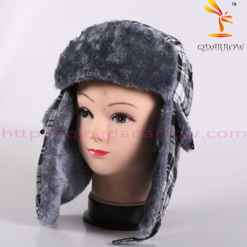 womens bomber hat cotton percale with faux fur lining