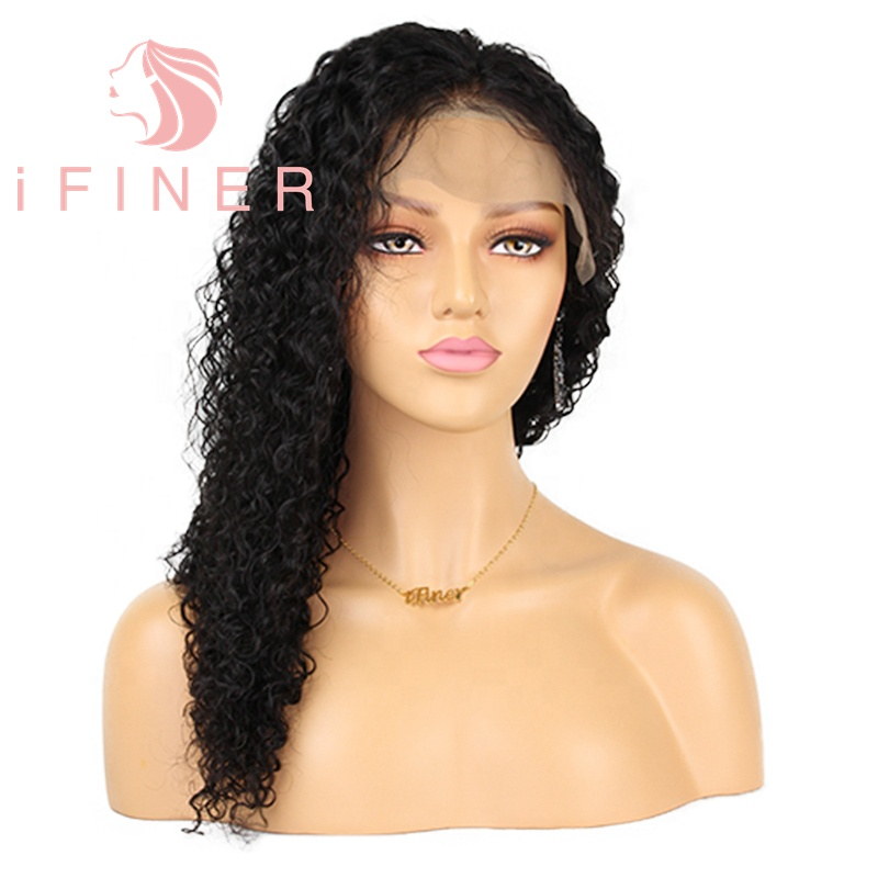 Fast Deliver Allrun Indian Ocean Wave Human Hair Wigs With Adjustable Bangs Human Hair Wigs Non Remy Hair Wigs Full Machine Natural Color Lace Wigs