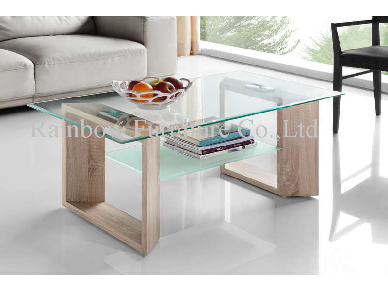 wooden like table with glass top coffee table