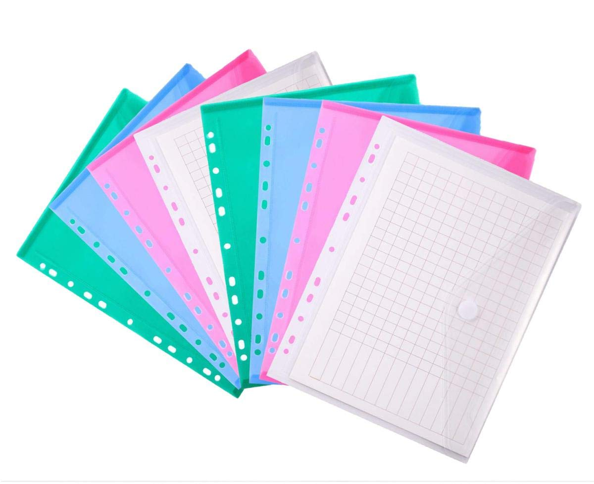 10 Pieces 11 Holes Plastic Poly Clear Envelope A4 Binders Folder Pocket Insert Pages with Hook and Loop Closure Letter Size