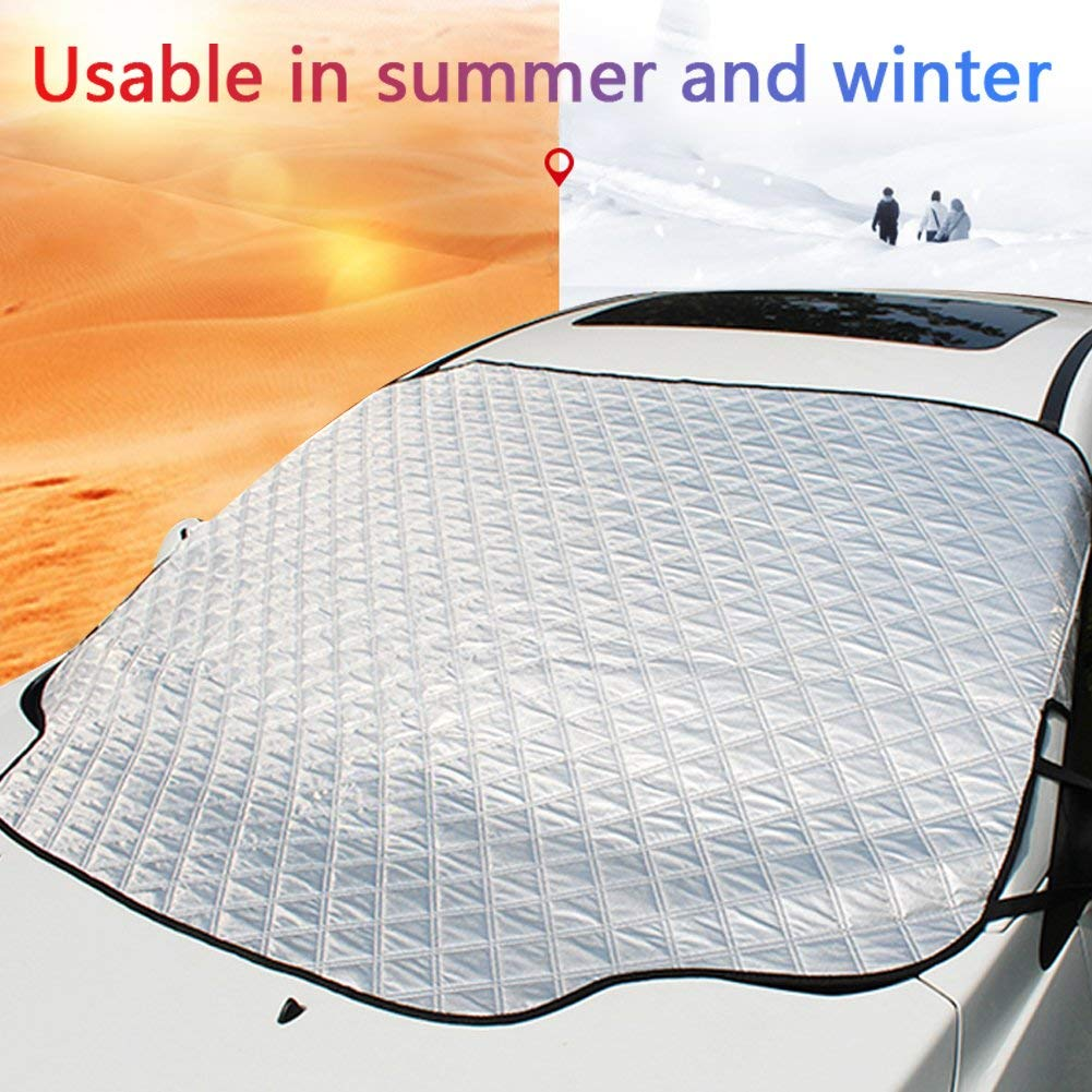 Magnetic Windshield Sunshades/Snow Covers - JUNGLEROAD 2018 Auto Snow Windshield Cover with Magnetic Edges for Winter Snow Removal - Car Front Window Cover New 3x Magnets Fits SUV, Truck & Car