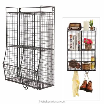 Home Supply Bathroom Wall Storage Basket Shelf Metal Wire Organizer Rack Black Color