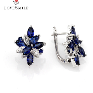 Elegant gift Jewelry supplier AAA Blue NANO women fashion sterling silver cubic zirconia earrings