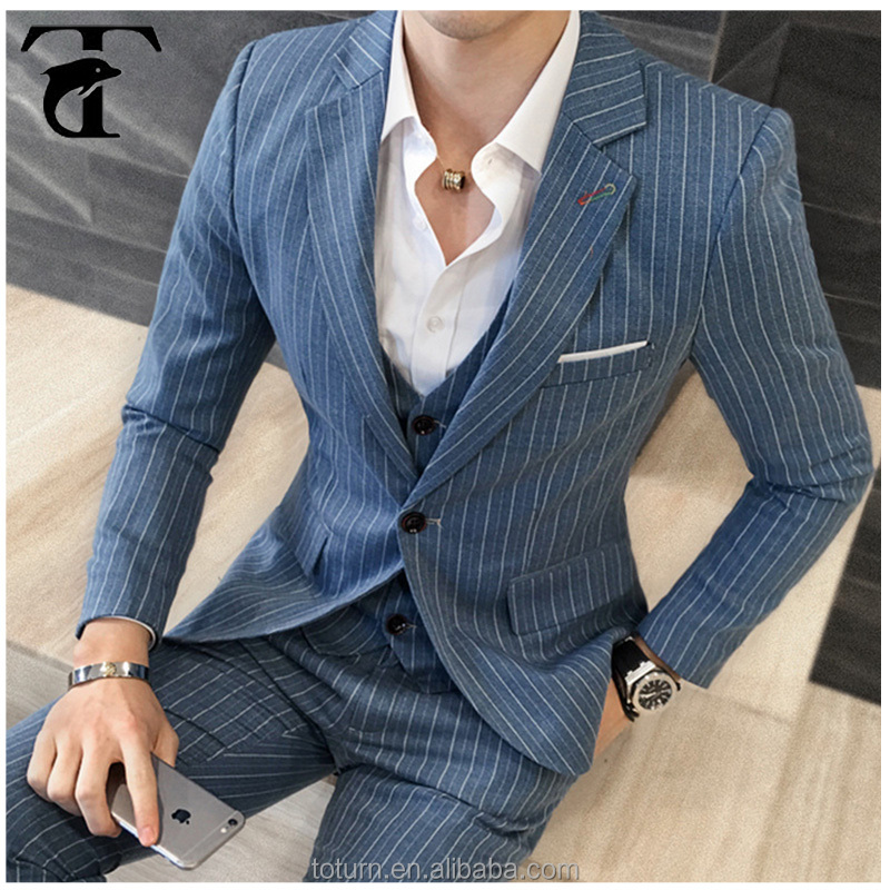 Wool Fabric Mens One Button 3 Pieces Latest Design Men Suit Slim Fit Business Formal Latest Suit Style For Man