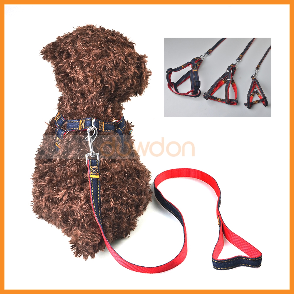 3 Size Jeans Cloth Dog Training Walking Leash Collar for Large Medium Small Dog