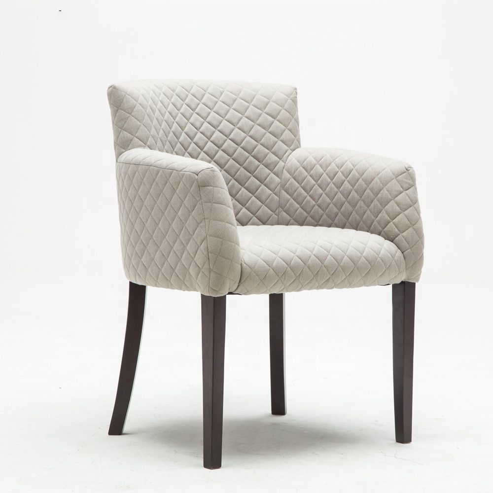 Home Hotel Leisure Comfortable Fabric Seat  Rubber Wooden Legs Single Sofa Accent Chair Bedroom Furniture