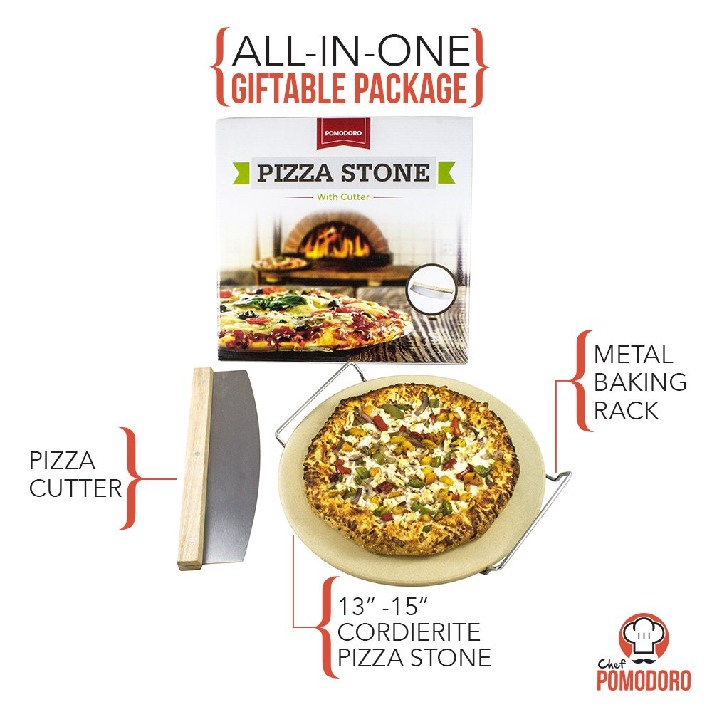 """Cordierite Pizza Stone Cooking Kit with Pizza Cutter - 13"""" Pizza Stone, Cutter and Cooling Metal Rack, Made for Oven and Barbeque Grill"""