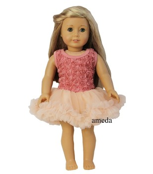 "18"" American Girl Doll Romantic Tea Rose Rosettes Party Dress Clothes"