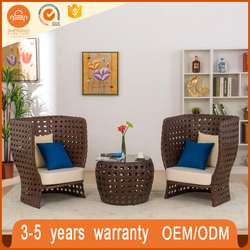 Vogue Cream Outdoor Rattan Coffee Chairs And Table Wicker Balcony Furniture Set