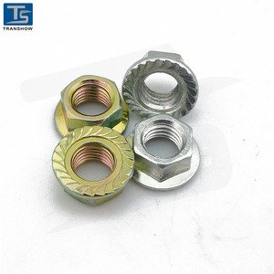 Serrated flange hex lock nut, steel class 8 hex flange prevailing torque lock nut, metric M8-1.25, galvanized