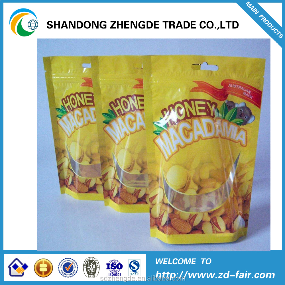 New Type Good Price Best Quality Stand Up Pouches With Window Pa+Pe/Opp/Cpp/Vmpet for nuts
