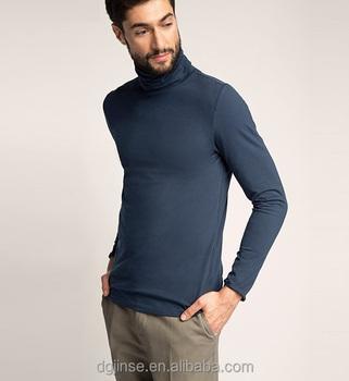 1050e409bc53f La clásica nuevo modelo de color puro de tortuga cuello alto hombre manga  larga Camiseta para
