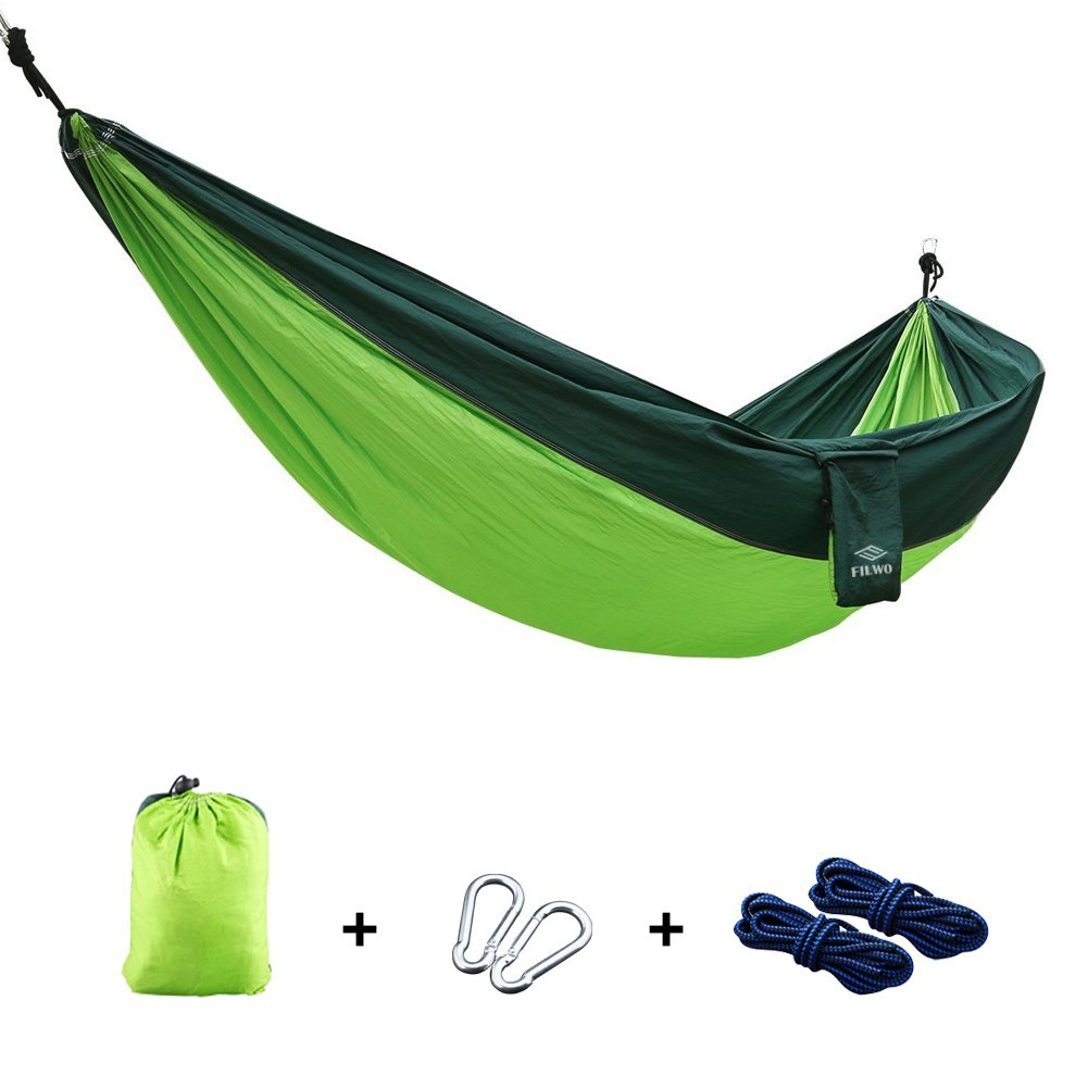 "Camping Hammock, FILWO Portable Hammock Garden Hammock UltraLight and Durable for Backpacking, Travel, Beach, Yard Multifunctional Nylon Parachute 106""x 55"" Single Double Hammock(Green)"