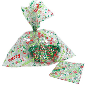 Large Christmas Gift Wrap Cellophane Bags Clear Plastic Basket Bag With Twist Ties