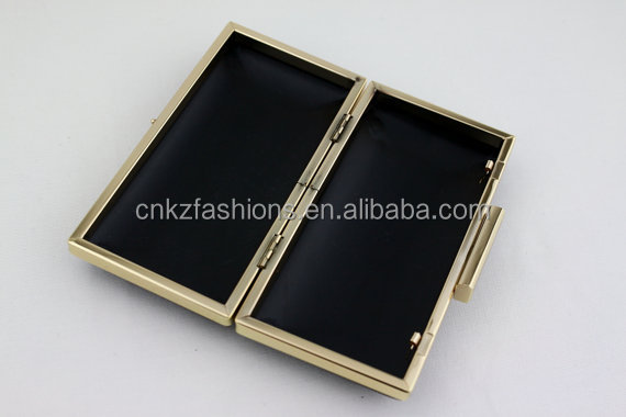 6.5 x 3 1/4 inches Square Clasp - Gold & silver Rectangle Clutch with stocks (kzm0003)