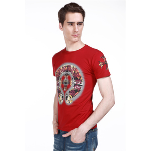Garment manufacturer Fashion 100% Cotton Cheap Men's Custom Printed Round Neck Men T Shirt