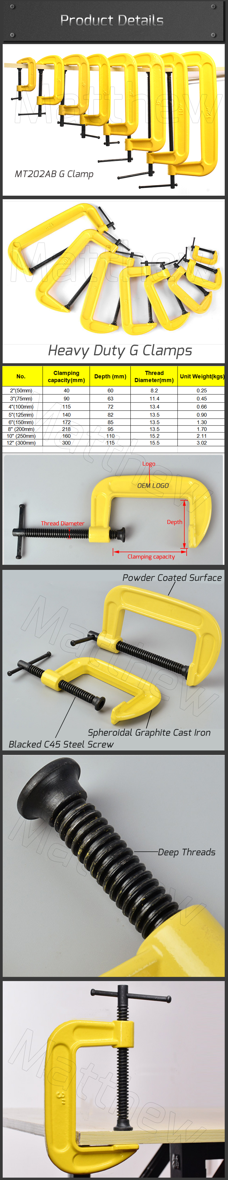 Cast Iron Heavy Duty G Clamp For Woodworking