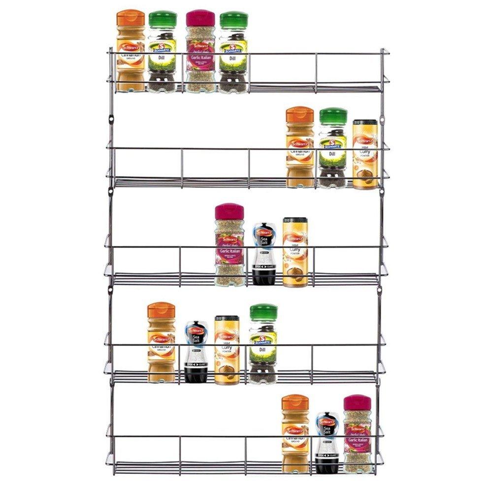 DREAMALL 5 Tiers Metal Wire Chrome Kitchen Cabinet Door Wall Mounted Spice Herbs Jars Storage Holder Rack Organizer Shelves Shelf Inside Cupboard