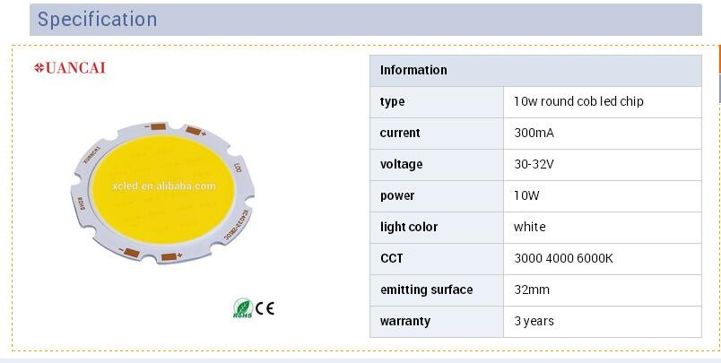 10W COB LED Round Shape high Power LED 300mA 30-36V