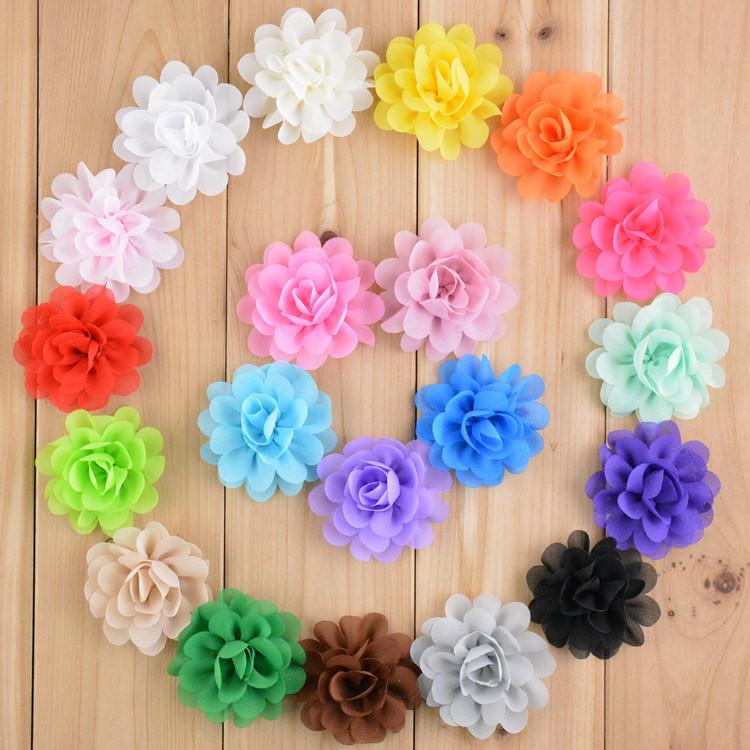 300 pcs 2 chiffon mini flower wholesale fabric flowers for diy headband hair clip or hair