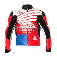 Honda USA Motorcycle Moto Racing Jacket_USA Flag Style _ ( Full Safety Motorbike Leather Jacket)