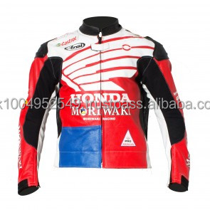 Honda USA Motorcycle Moto Racing Jacket Flag Style Full Safety Motorbike Leather
