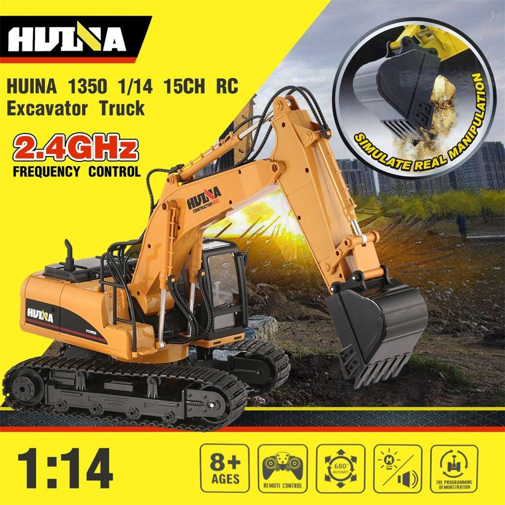 2.4G HuiNa Excavator 1350 1:14 15 Channel RC Excavator toys with Battery for Children