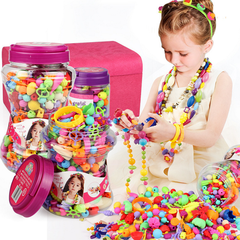 2019 Bracelet and necklace DIY bead kit <strong>toys</strong> colorful game kids <strong>toy</strong> without string
