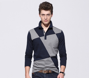 Spring fashion men knit collars color combination PK polo shirt long sleeve