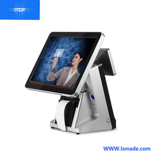 12 15 17 inch full flat capacitive touch screen windows 7 pos terminal with printer built-in customer display and MSR