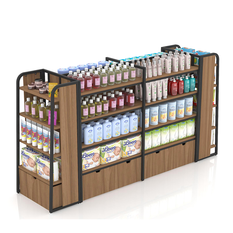 Wooden Supermarket Gondola Display Shelf/Storage Rack for <strong>Retail</strong> Store Shop