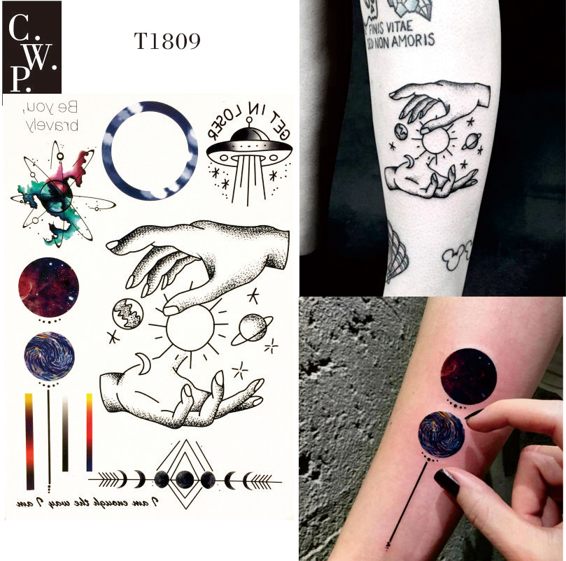 8f4b9936e T1809 1 Piece Space Travel Temporary Tattoo with Line, Planet, Celestial  Body,Spaceship,Moon, Sun Pattern body paint Tattoos-in Temporary Tattoos  from ...