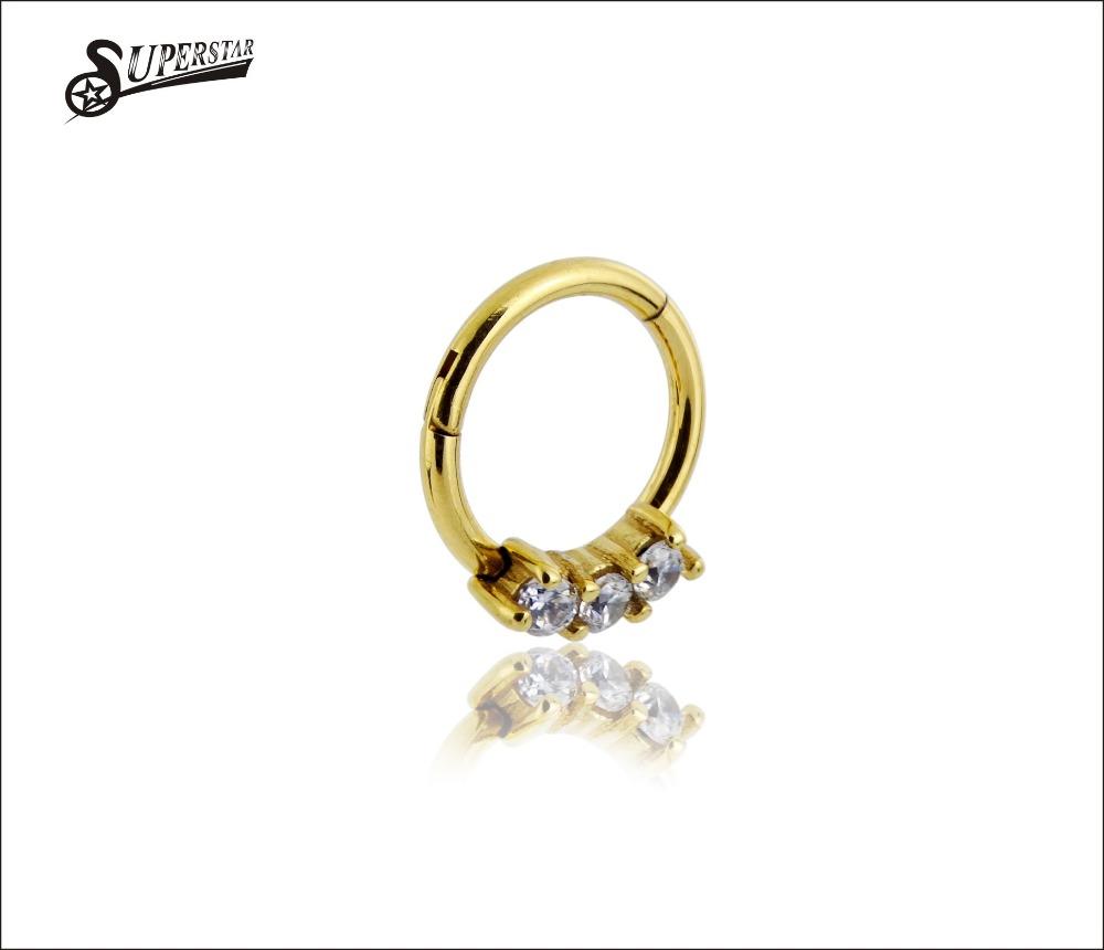 Nuevo De Acero Quirúrgico Joya anillo de nariz Tabique Clicker De 16 G 14g Transparente Rainbow Negro
