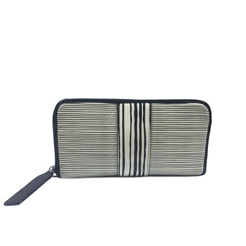 custom stripe pattern stylish fabric clutch zipper ruffles wallet for women